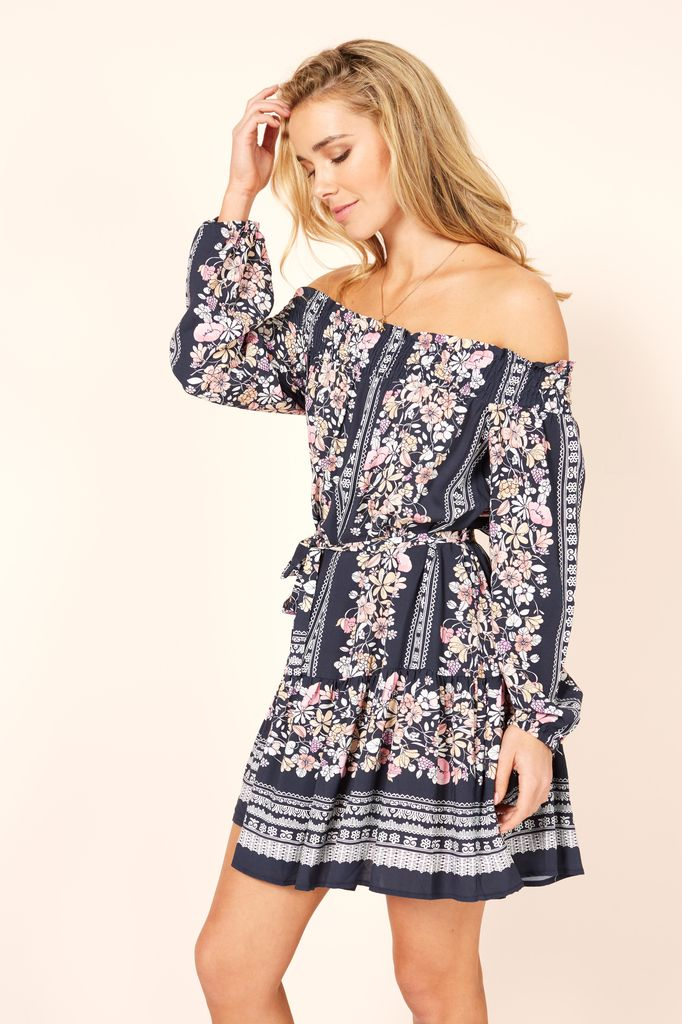 Mink Pink In Bloom Off Shoulder Dress
