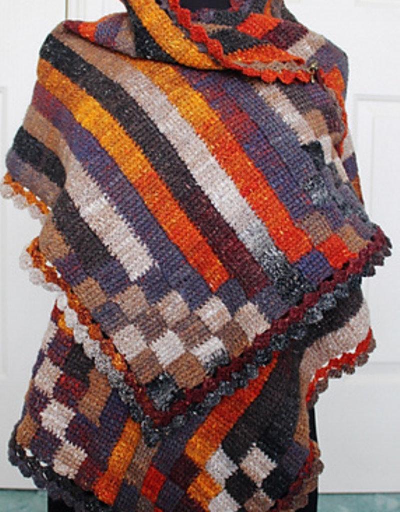 The Yarn Stop Stripy Entrelac Wrap (Pattern)