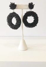 Black Beaded Open Oval Earrings