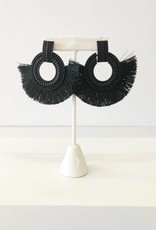Black Beaded Circle + Fringe Earring