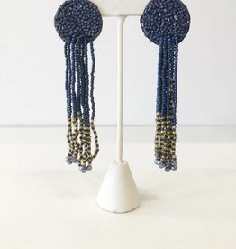 Navy + Gold Seed Bead Flat Earring