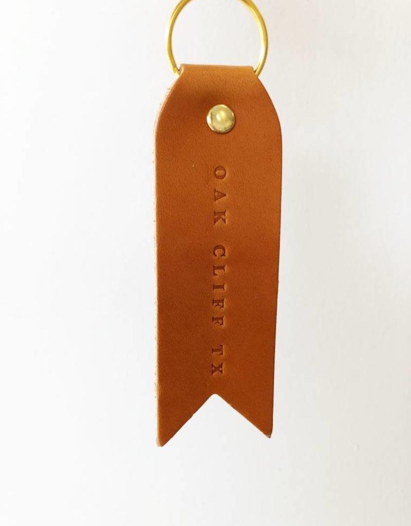 OAK CLIFF, TX Leather Keychain