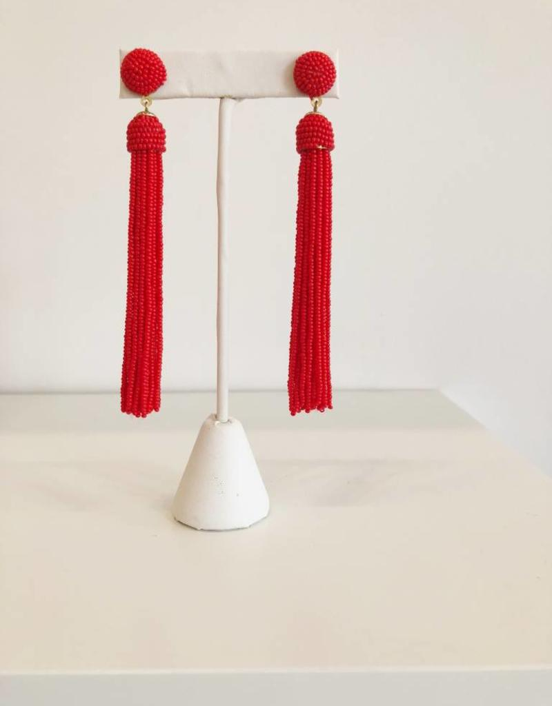 Red Seed Bead Tassel Earring