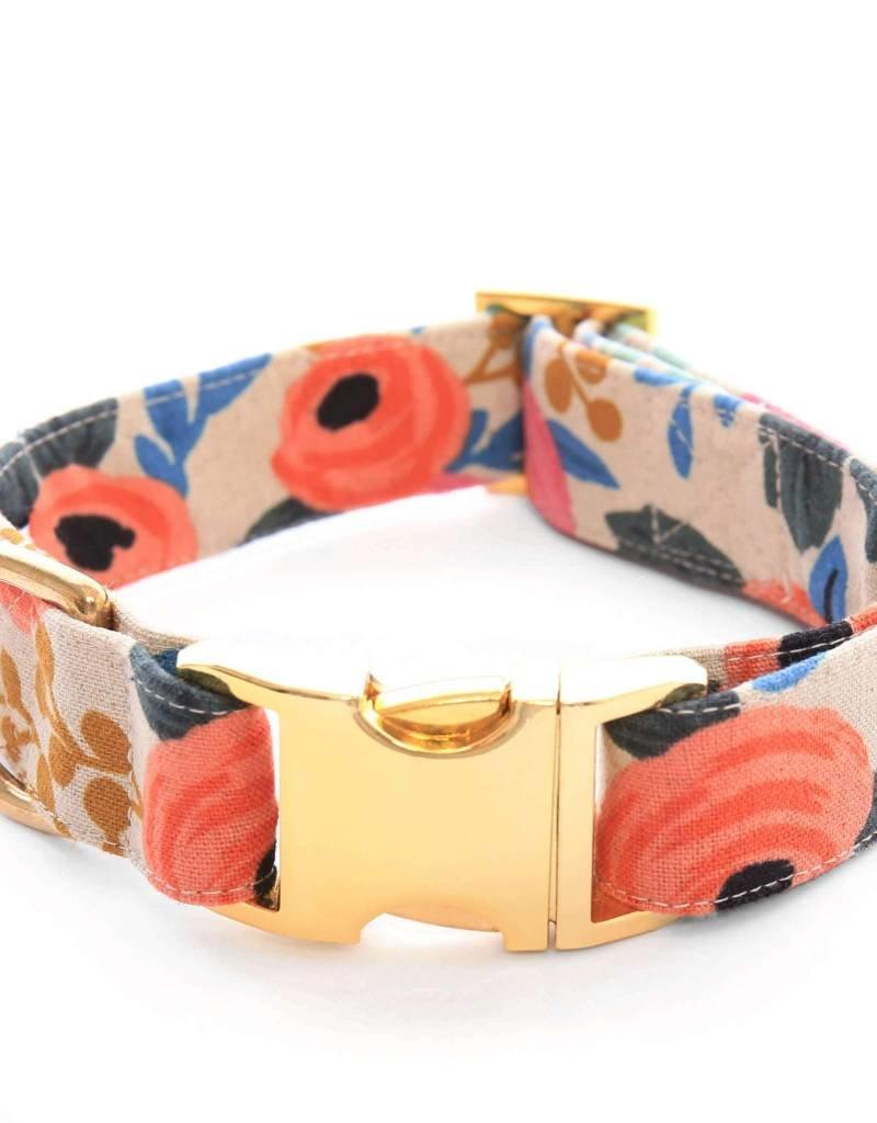 Rosa Floral Natural Dog Collar - S