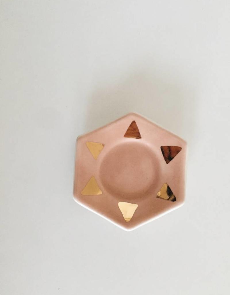 Peach + Gold Hexagon Ring Dish