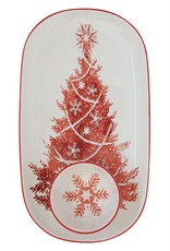 Ceramic Platter with Round Dish - Christmas Tree