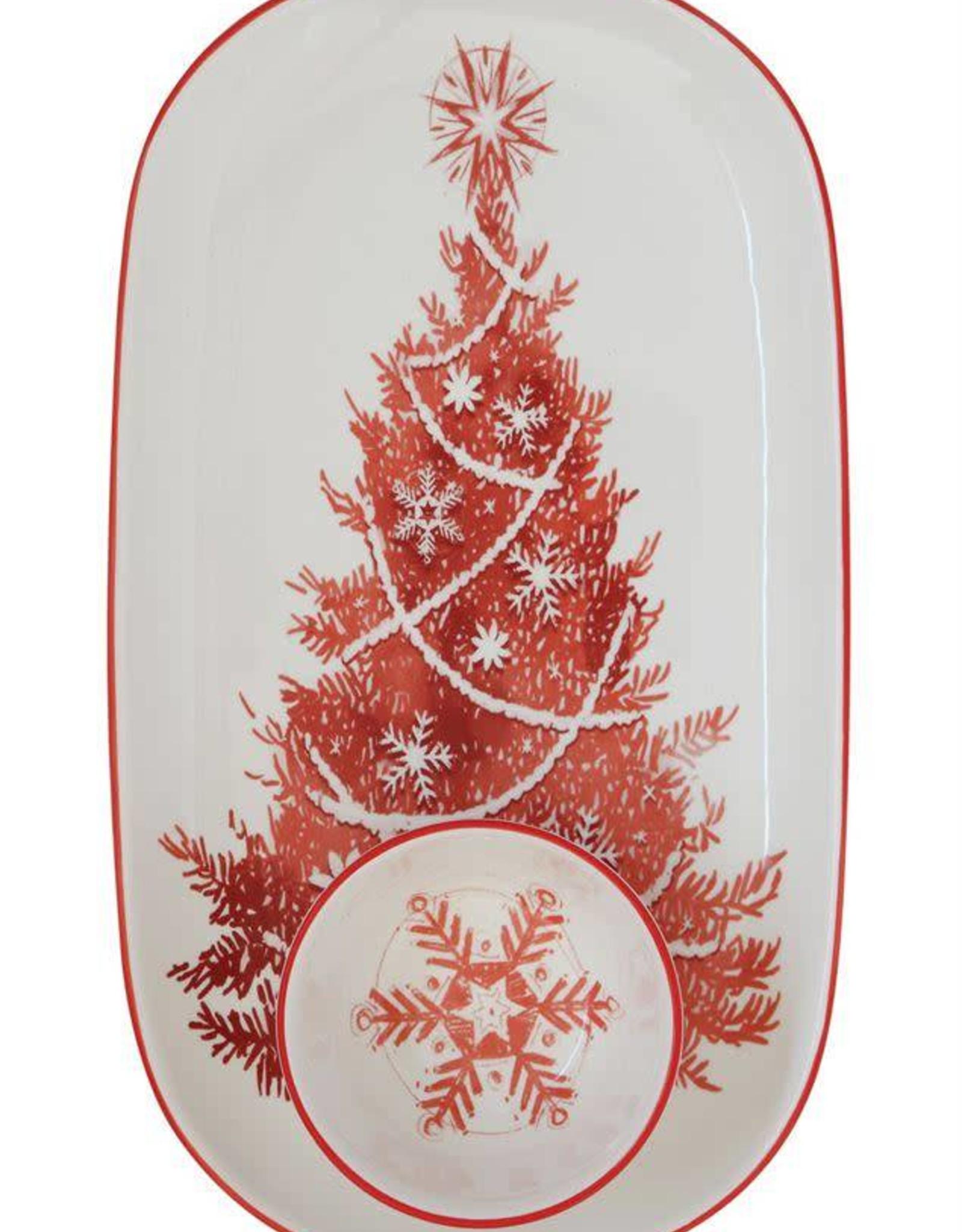 Ceramic Platter with Round Dish - Christmas Tree