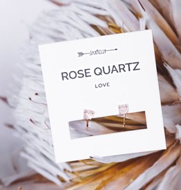 Rose Quartz Huggies - 18K Rose Gold-Plated