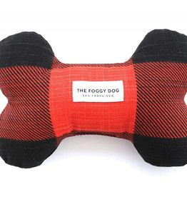 Red & Black Check Dog Bone Squeaky Toy