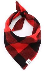 Red & Black Check Flannel Dog Bandana - Small