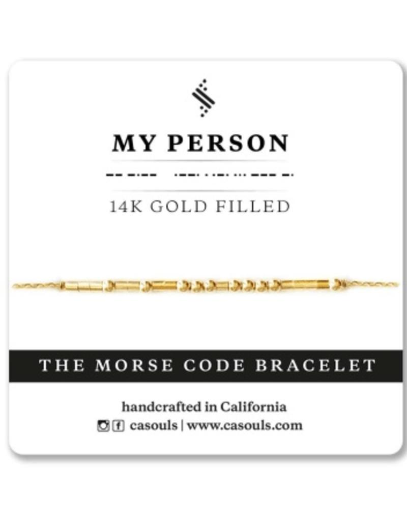My Person Morse Code Bracelet - Gold Filled