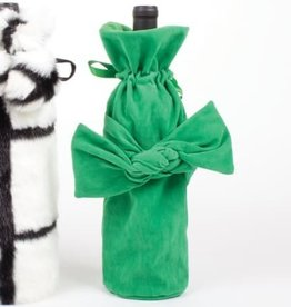 Velvet Bow Wine Bag - Green