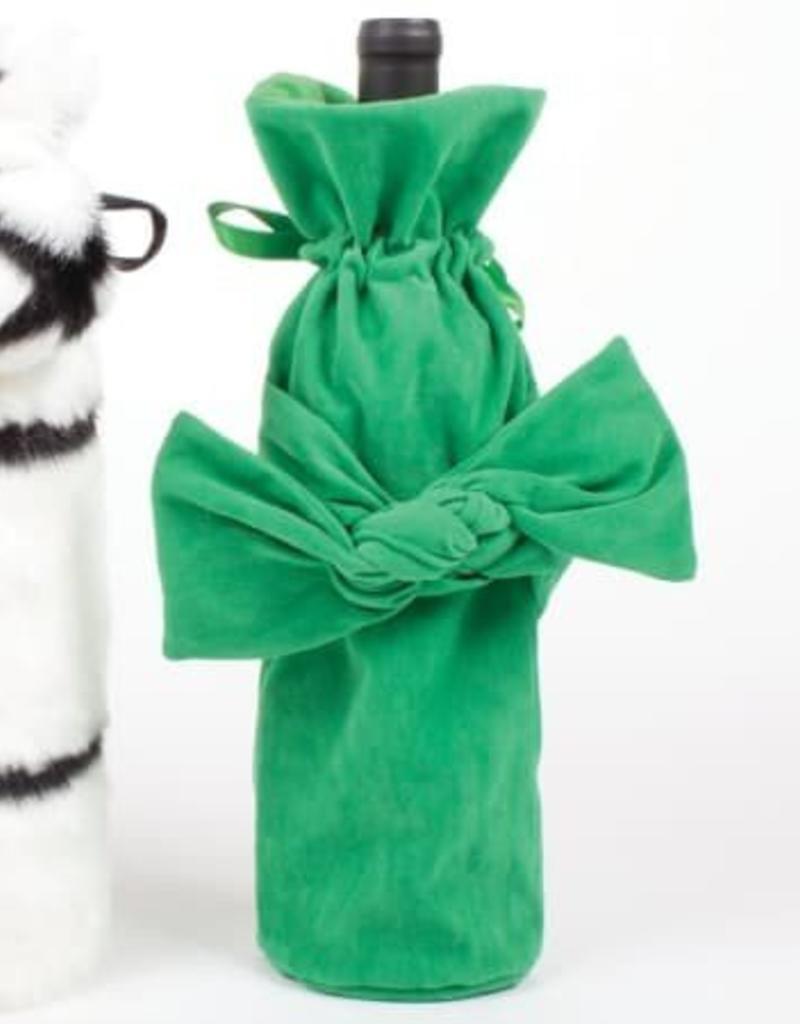Velvet Bow Wine Bag - Green