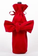 Velvet Bow Wine Bag - Red