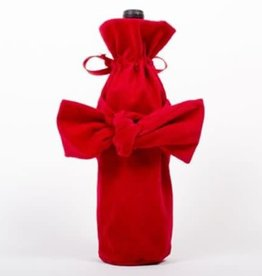 Velvet Bow Wine Bag - Red