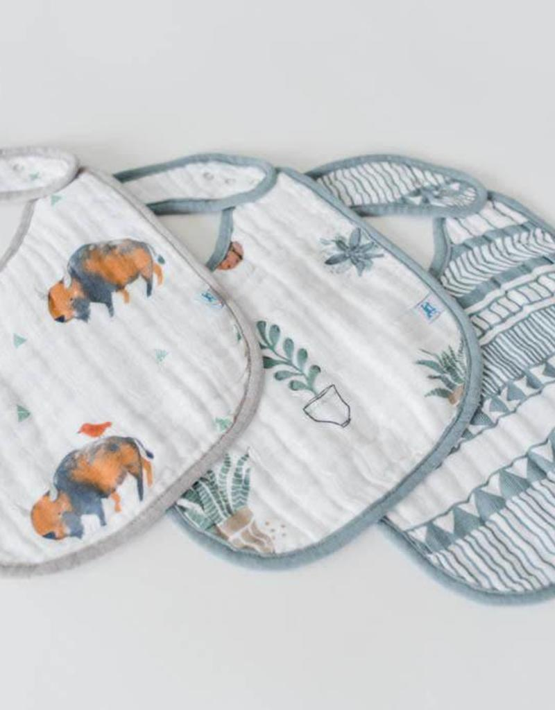 Cotton Muslin Classic Bib 3 Pack - Bison Set