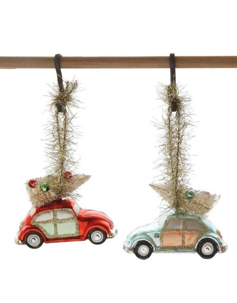 Glass Car with Bottle Brush Tree Ornament - Red