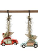 Glass Car w/ Bottle Brush Tree Ornament - Blue