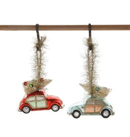Glass Car with Bottle Brush Tree Ornament - Blue