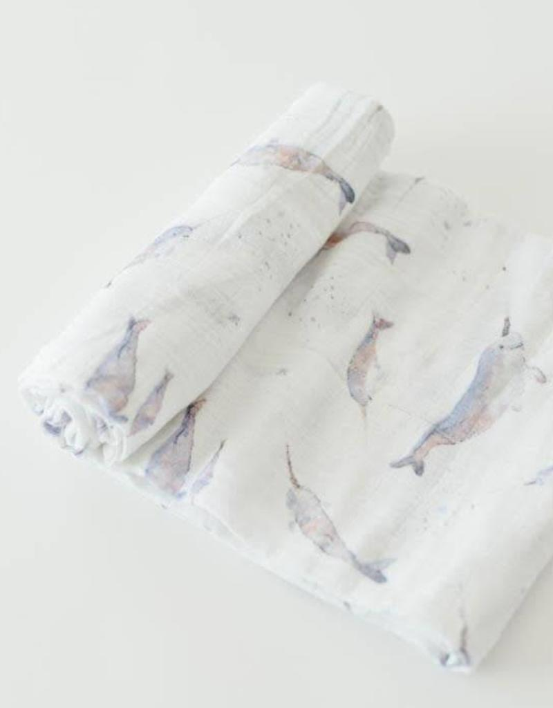 Cotton Muslin Swaddle Single - Narwhal
