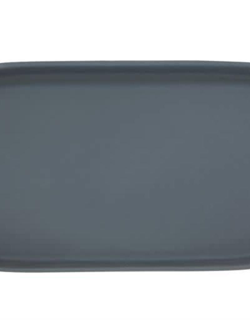 Matte Blue Stoneware Platter