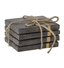 Cement Coasters with Gold Inlay - Set of 4
