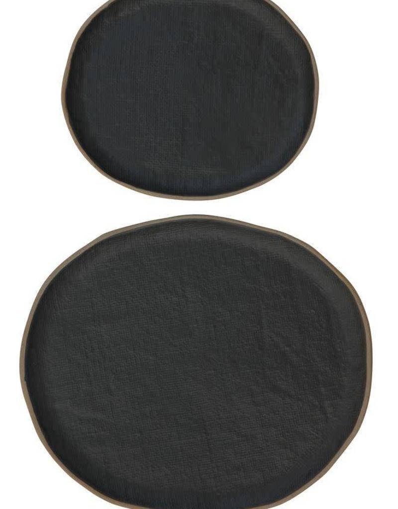 "Matte Black Stoneware Plate - 11""x9.75"""