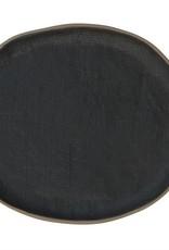 "Matte Black Stoneware Plate - 8.25x7.25"""