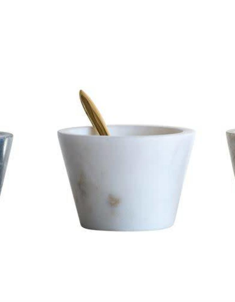 Marble Bowls with Brass Spoons - Set of 2