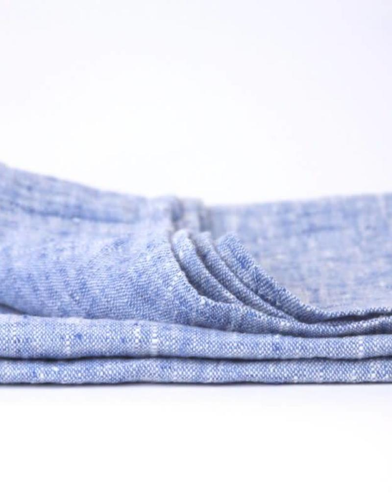 Stonewashed Linen Hand Towel - Light Blue