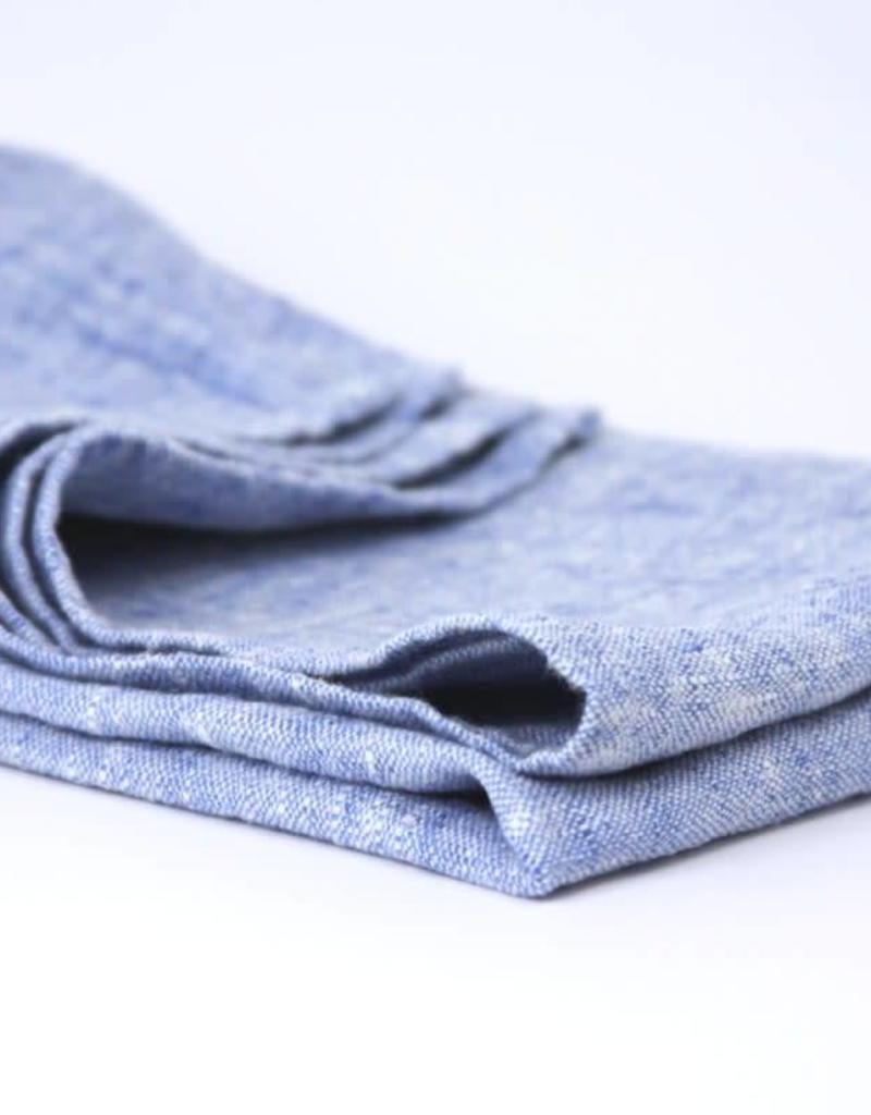 Stonewashed Linen Hand Towel - Light Blue