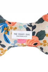 Rosa Floral Natural Dog Bone Squeaky Toy