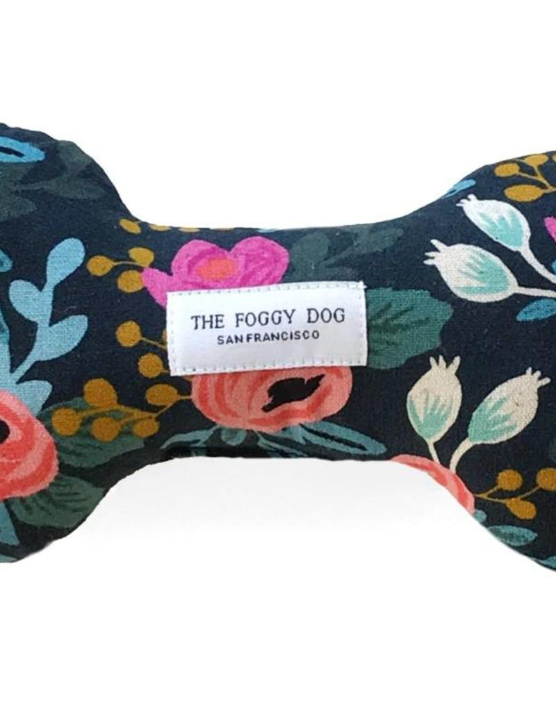 Rosa Floral Navy Dog Bone Squeaky Toy