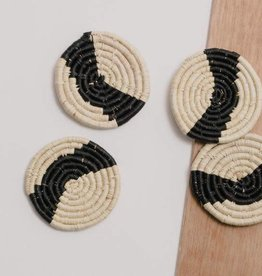 Striped Black + Natural Raffia Coasters - Set of 4