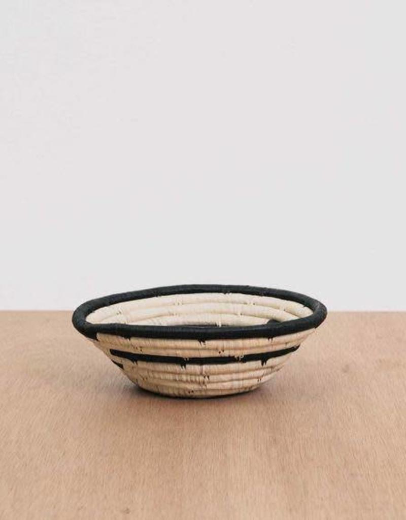 Geo Black Small Raffia Bowl