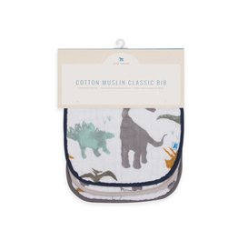 Cotton Muslin Classic Bib 3 Pack - Dino Set
