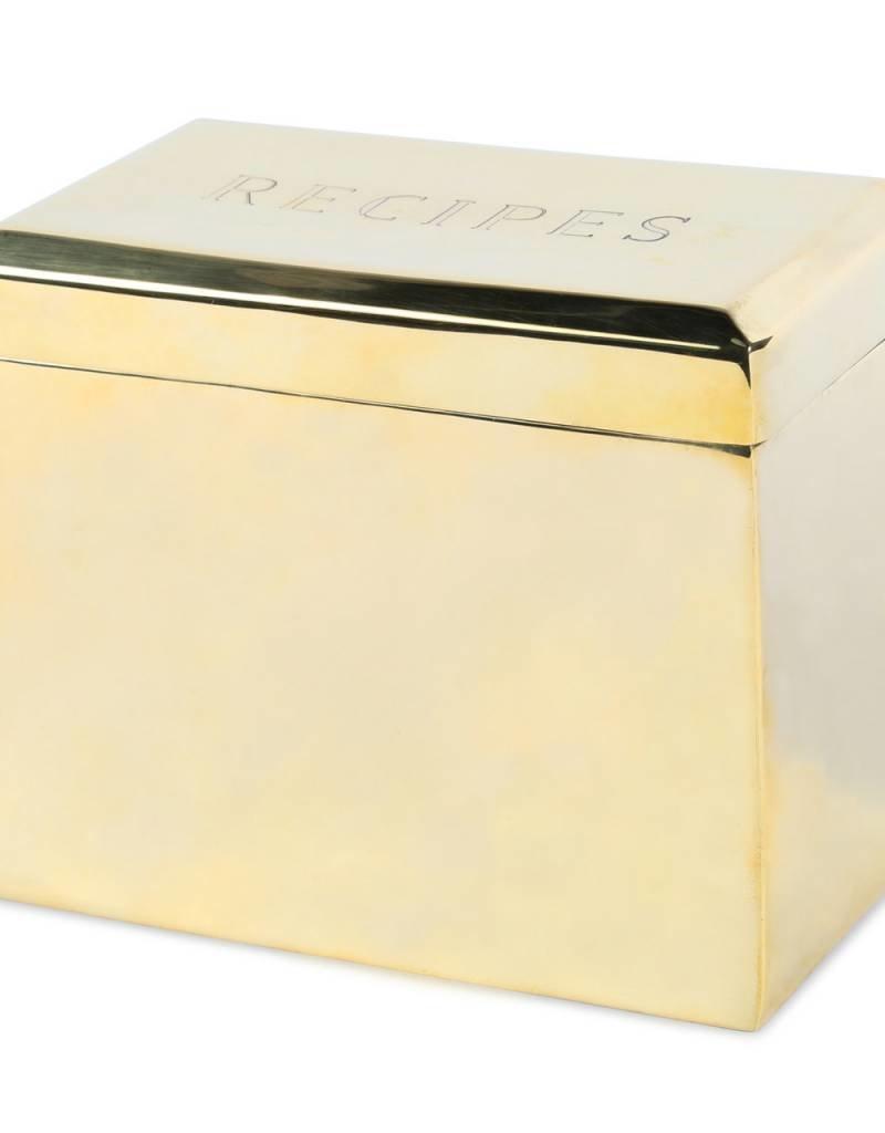 Brass Beveled Recipe Box