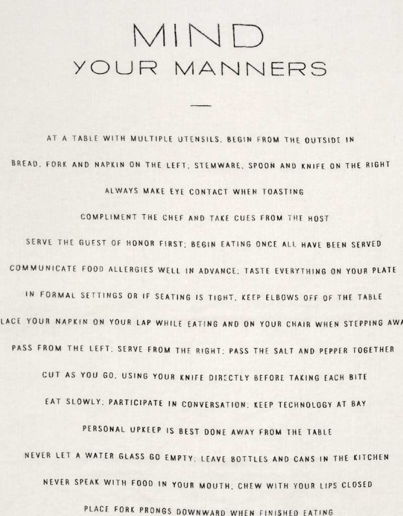 Mind Your Manners Pure Linen Tea Towel