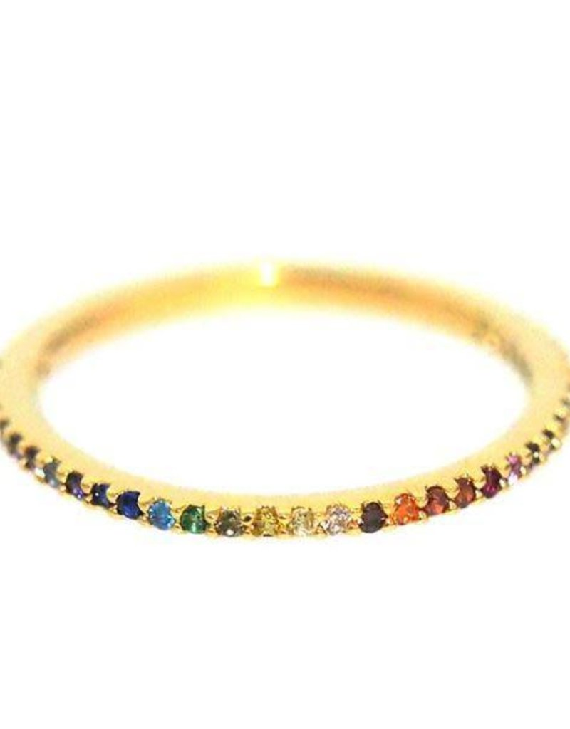 Rainbow Pave Ring - Size 7