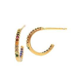 Rainbow Pave Mini Hoop Earrings