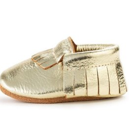 Gold Genuine Leather Baby Moccasins - 0-6 ms
