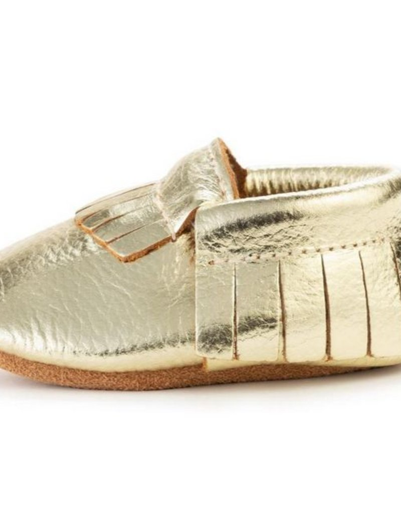 Gold Genuine Leather Baby Moccasins - 12-18 mos.