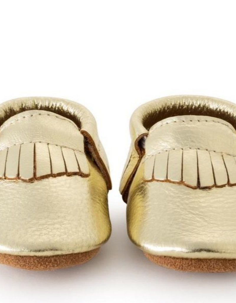 7674325e166b0 Gold Genuine Leather Baby Moccasins - 12-18 mos. - All Good Things
