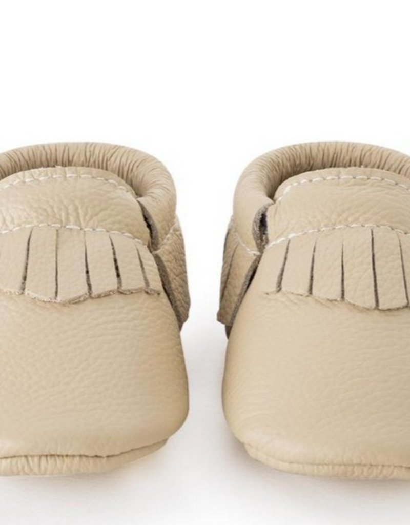 Latte Genuine Leather Baby Moccasins - 0-6 ms