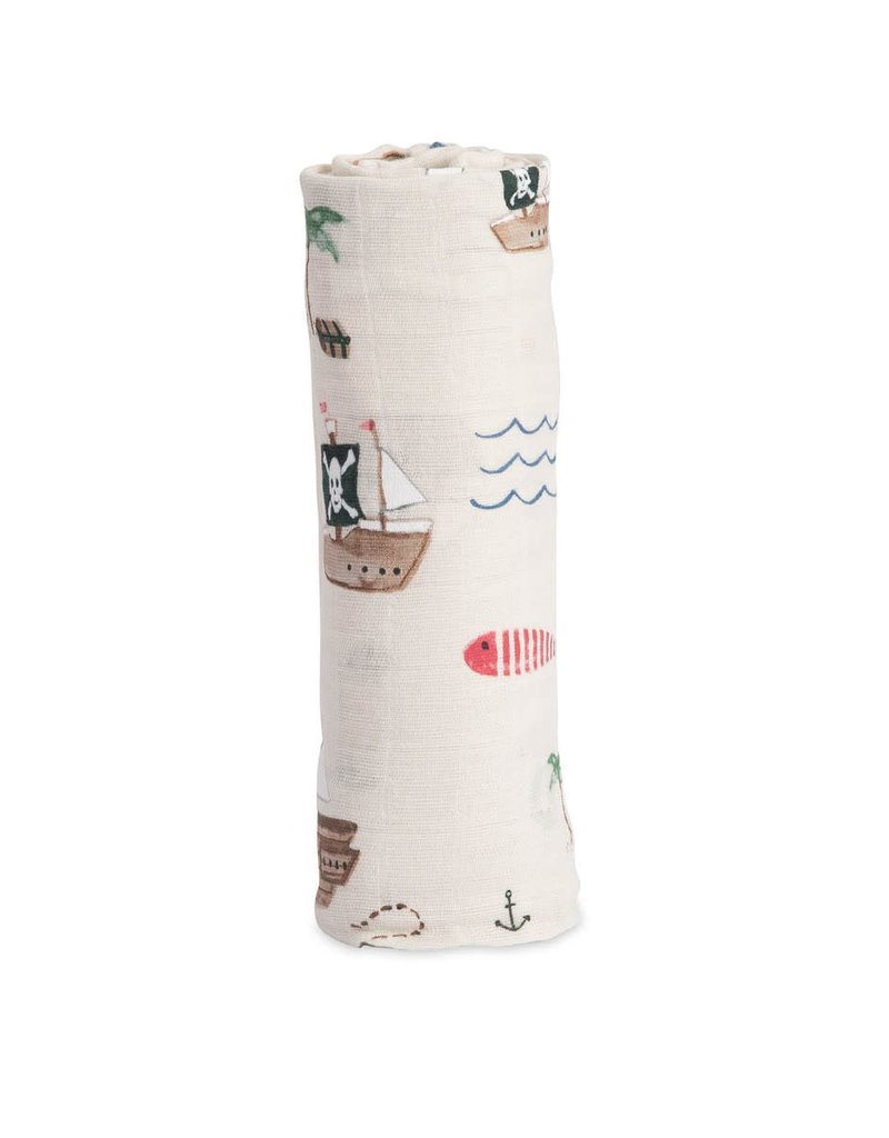 Cotton Muslin Swaddle Single - Treasure Map