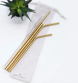 Gold Straw Set Linen Pouch - 6 Pieces