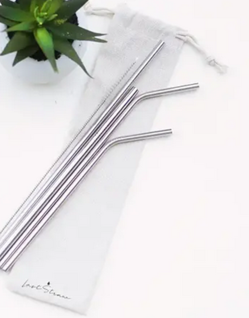 Silver Straw Set Linen Pouch - 6 Pieces