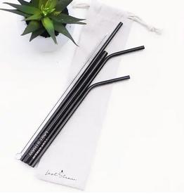 Black Straw Set Linen Pouch - 6 Pieces