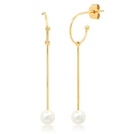 Dangle Earrings with Fresh Water Pearl Accent