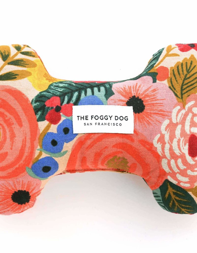 Painted Peonies Natural Dog Bone Squeaky Toy